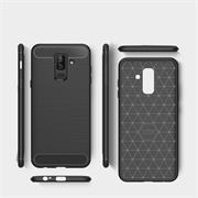 Hülle Carbon für Samsung Galaxy A8 Plus Schutzhülle Handy Case Hybrid Cover