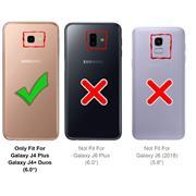 Hülle Carbon für Samsung Galaxy J4 Plus Schutzhülle Handy Case Hybrid Cover