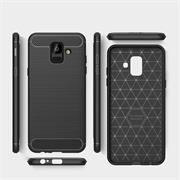 Hülle Carbon für Samsung Galaxy J6 2018 Schutzhülle Handy Case Hybrid Cover