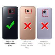 Hülle Carbon für Samsung Galaxy J6 Plus Schutzhülle Handy Case Hybrid Cover