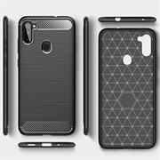 TPU Hülle für Samsung Galaxy M11 Handy Schutzhülle Carbon Optik Schutz Case