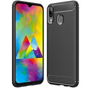 Handy Hülle für Samsung Galaxy M20 Backcover Case im Carbon Design