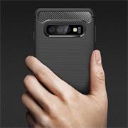 Hülle Carbon für Samsung Galaxy S10 Plus Schutzhülle Handy Case Hybrid Cover