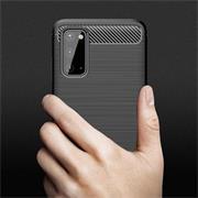 TPU Hülle für Samsung Galaxy S20 Handy Schutzhülle Carbon Optik Schutz Case