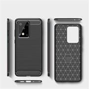 TPU Hülle für Samsung Galaxy S20 Ultra Handy Schutzhülle Carbon Optik Schutz Case