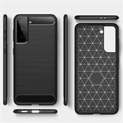 TPU Hülle für Samsung Galaxy S21 Handy Schutzhülle Carbon Optik Schutz Case