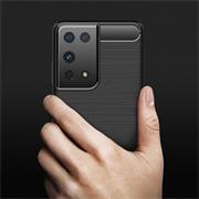 TPU Hülle für Samsung Galaxy S21 Ultra Handy Schutzhülle Carbon Optik Schutz Case
