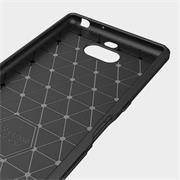 TPU Hülle für Sony Xperia 10 Handy Schutzhülle Carbon Optik Schutz Case