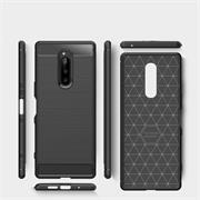 TPU Hülle für Sony Xperia 1 Handy Schutzhülle Carbon Optik Schutz Case