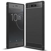 Hülle Carbon für Sony Xperia XZ1 Compact Schutzhülle Handy Case Hybrid Cover