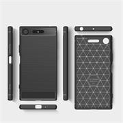 Handy Hülle für Sony Xperia XZ1 Backcover Case im Carbon Design