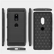 Handy Hülle für Sony Xperia XZ2 Backcover Case im Carbon Design