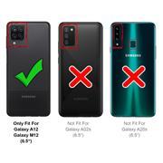 Silikon Handyhülle für Samsung Galaxy A12 / M12 Hülle mit Kartenfach Slim Wallet Case