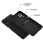 Silikon Handyhülle für Samsung Galaxy A22 4G / M22 Hülle mit Kartenfach Slim Wallet Case