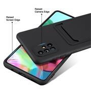 Silikon Handyhülle für Samsung Galaxy A71 Hülle mit Kartenfach Slim Wallet Case