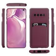 Silikon Handyhülle für Samsung Galaxy S10 Hülle mit Kartenfach Slim Wallet Case