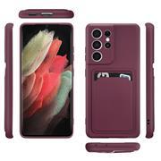 Silikon Handyhülle für Samsung Galaxy S21 Ultra Hülle mit Kartenfach Slim Wallet Case