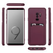 Silikon Handyhülle für Samsung Galaxy S9 Plus Hülle mit Kartenfach Slim Wallet Case