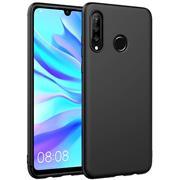 Silikon Hülle für Huawei P30 Lite Schutzhülle Matt Schwarz Backcover Handy Case