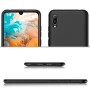 Silikon Hülle für Huawei Y5 2019 Matt Schwarz Backcover Handy Case