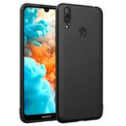 Silikon Hülle für Huawei Y7 2019 Schutzhülle Matt Schwarz Backcover Handy Case