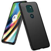 Silikon Hülle für Motorola Moto G9 Play Schutzhülle Matt Schwarz Backcover Handy Case