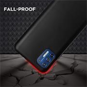 Silikon Hülle für Motorola Moto G9 Plus Schutzhülle Matt Schwarz Backcover Handy Case