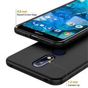Silikon Hülle für Nokia 7.1 Schutzhülle Matt Schwarz Backcover Handy Case