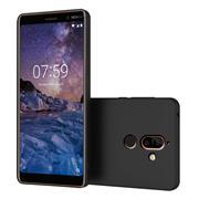 Silikon Hülle für Nokia 7 Plus Schutzhülle im schlichten Schwarz Slim Handy Case