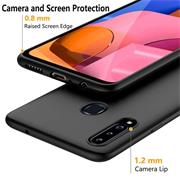 Silikon Hülle für Samsung Galaxy A20s Schutzhülle Matt Schwarz Backcover Handy Case