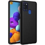 Silikon Hülle für Samsung Galaxy A21s Schutzhülle Matt Schwarz Backcover Handy Case