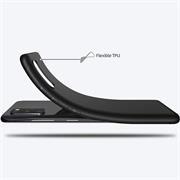 Silikon Hülle für Samsung Galaxy A41 Schutzhülle Matt Schwarz Backcover Handy Case