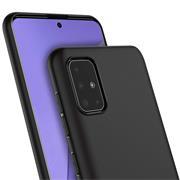 Silikon Hülle für Samsung Galaxy A51 Schutzhülle Matt Schwarz Backcover Handy Case