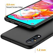Silikon Hülle für Samsung Galaxy A70 Schutzhülle Matt Schwarz Backcover Handy Case