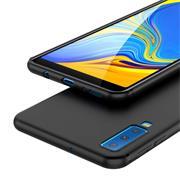 Silikon Hülle für Samsung Galaxy A7 2018 Schutzhülle im schlichten Schwarz Slim Handy Case