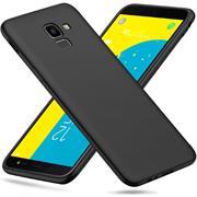 Silikon Hülle für Samsung Galaxy J6 2018 Schutzhülle Matt Schwarz Backcover Handy Case