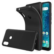 Silikon Hülle für Xiaomi Mi A2 Lite Schutzhülle Matt Schwarz Backcover Handy Case