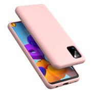Handy Hülle für Samsung Galaxy A41 Soft Case mit innenliegendem Stoffbezug