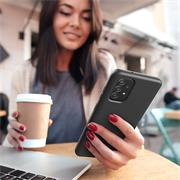 Handy Hülle für Samsung Galaxy A52 Soft Case mit innenliegendem Stoffbezug