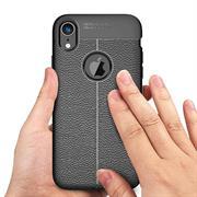 Handy Case für Apple iPhone XR Hülle in einer Leder-Optik Struktur Tasche