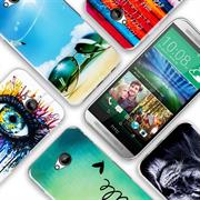 HTC One Mini Handy Hülle transparent Cover mit stylischem Motiv Silikon Case Schutzhülle