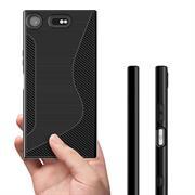 Silikon Hülle für Sony Xperia XZ1 Case Handy Cover Tasche mit seitlichem Grip
