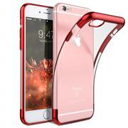 TPU Hülle für Apple iPhone 6 Plus / 6S Plus Case Silikon Cover Transparent mit Farbrand Handyhülle