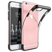 TPU Hülle für Apple iPhone 6 / 6S Case Silikon Cover Transparent mit Farbrand Handyhülle