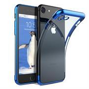 TPU Hülle für Apple iPhone 7 / 8 / SE 2 Case Silikon Cover Transparent mit Farbrand Handyhülle