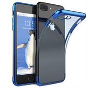 TPU Hülle für Apple iPhone 7 Plus / 8 Plus Case Silikon Cover Transparent mit Farbrand Handyhülle