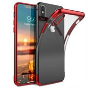 TPU Hülle für Apple iPhone X / XS Case Silikon Cover Transparent mit Farbrand Handyhülle
