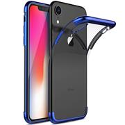 TPU Hülle für Apple iPhone XR Case Silikon Cover Transparent mit Farbrand Handyhülle