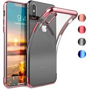 TPU Hülle für Apple iPhone XS Max Case Silikon Cover Transparent mit Farbrand Handyhülle