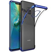 TPU Hülle für Huawei Mate 20 Pro Case Silikon Cover Transparent mit Farbrand Handyhülle